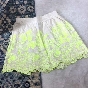 Anthropologie Embroidered Mesh Overlay Skirt
